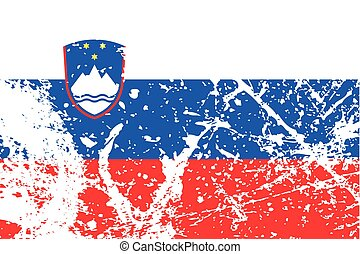 Illustration of a decayted flag of Slovenia - An...
