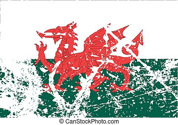 Illustration of a decayted flag of Wales - An Illustration...