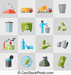 Garbage icons flat - Garbage recycling icons flat set of...