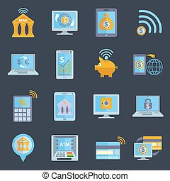 Mobile banking icons set with electronic devices and finance...