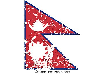 Illustration of a decayted flag of Nepal - An Illustration...