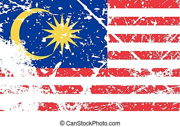 Illustration of a decayted flag of Malaysia - An...