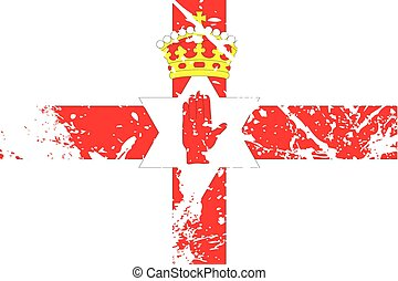 Illustration of a decayted flag of Northern Ireland - An...