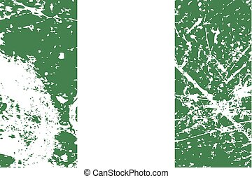 Illustration of a decayted flag of Nigeria - An Illustration...