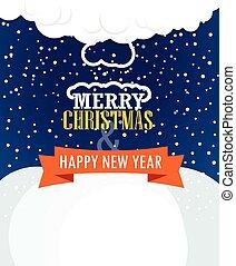 Christmas greating card. Snowfall on Winter
