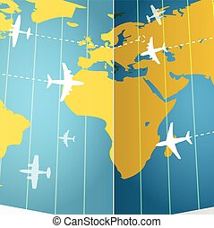 Airplanes flying over the world map