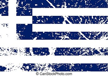 Illustration of a decayted flag of Greece - An Illustration...