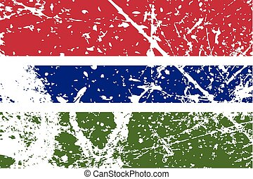 Illustration of a decayted flag of Gambia - An Illustration...