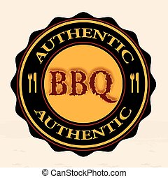 bbq authentic stamp - bbq authentic grunge stamp with on...
