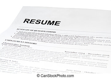 resume form on white. isolated