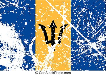 Illustration of a decayted flag of Barbados - An...