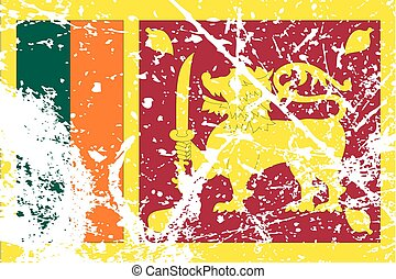 Illustration of a decayted flag of Sri Lanka - An...