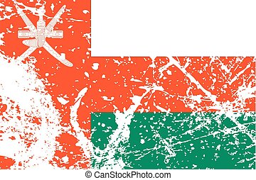 Illustration of a decayted flag of Oman - An Illustration of...