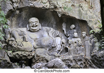 Buddha carving Hangzhou, China - Buddhist carvings in Feilai...