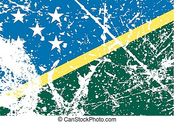 Illustration of a decayted flag of Solomon Islands - An...