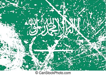 Illustration of a decayted flag of Saudi Arabia - An...