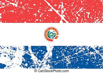 Illustration of a decayted flag of Paraguay - An...