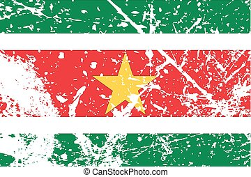 Illustration of a decayted flag of Suriname - An...