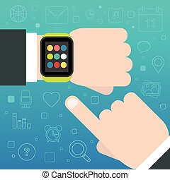 Smart Watch concept with mobile apps icons. Vector...