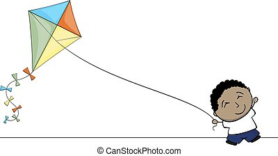 little brown kid playing with kite