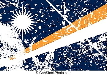 Illustration of a decayted flag of Marshall Islands - An...