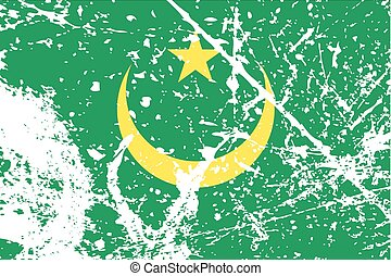 Illustration of a decayted flag of Mauritania - An...