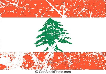 Illustration of a decayted flag of Lebanon - An Illustration...