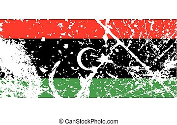 Illustration of a decayted flag of Libya - An Illustration...