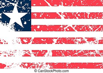 Illustration of a decayted flag of Liberia - An Illustration...