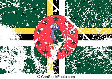 Illustration of a decayted flag of Dominica - An...