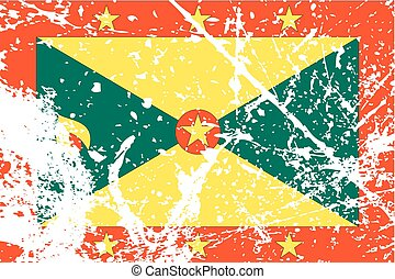 Illustration of a decayted flag of Grenada - An Illustration...