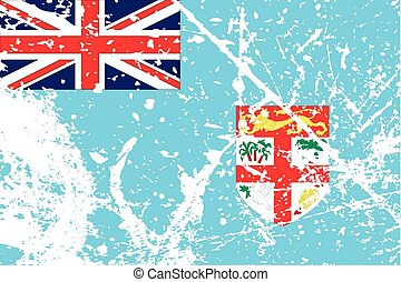 Illustration of a decayted flag of Fiji - An Illustration of...