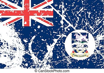 Illustration of a decayted flag of Falkland Islands - An...