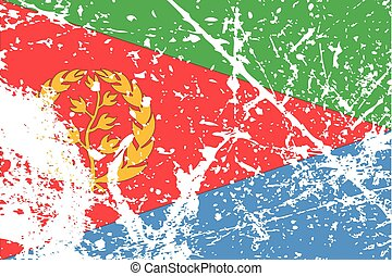 Illustration of a decayted flag of Eritrea - An Illustration...