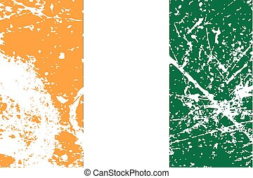 Illustration of a decayted flag of Cote Divoire - An...