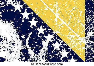 Illustration of a decayted flag of Bosnia - An Illustration...
