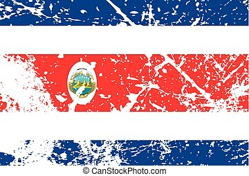 Illustration of a decayted flag of Costa Rica - An...