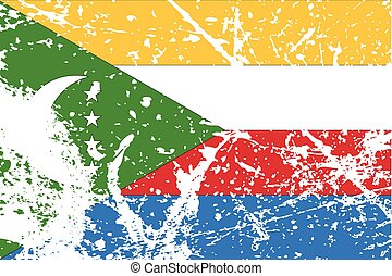 Illustration of a decayted flag of Comoros - An Illustration...