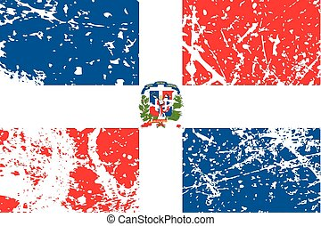 Illustration of a decayted flag of Dominican Republic - An...