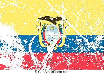 Illustration of a decayted flag of Ecuador - An Illustration...
