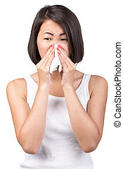 Disease - Asian woman is suffering from colds and runny nose...