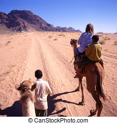 A camel trip in the desert - A camel trip through Wadi Rum...
