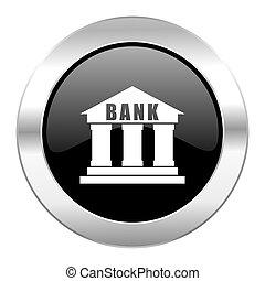 krom, isolerat, svart, glatt, cirkel,  bank, ikon