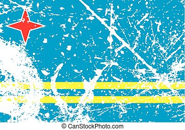 Illustration of a decayted flag of Aruba - An Illustration...