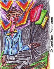 Clown oil pastel painting - Oil pastel painting of a clown...