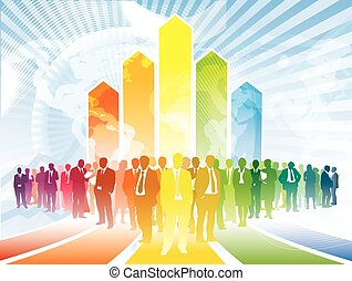 Global business - Colorful businesspeople are standing in...