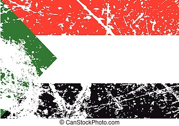 Illustration of a decayted flag of Sudan - An Illustration...
