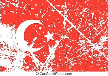 Illustration of a decayted flag of Turkey - An Illustration...