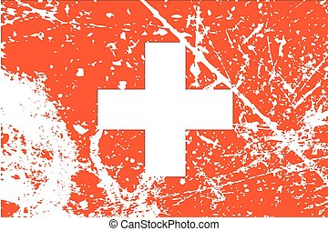 Illustration of a decayted flag of Switzerland - An...