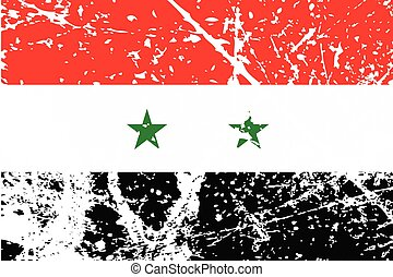 Illustration of a decayted flag of Syria - An Illustration...